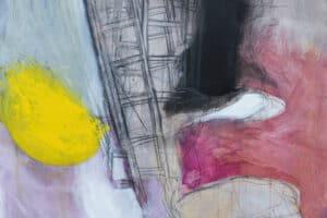 Hosni Radwan, Ladders, 2015, charcoal and acrylic on canvas, 120 x 120 cm