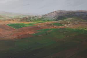 Rafat Asad, Marj Ibn Amer #24, 2015, acrylic on canvas, 155 x 300 cm