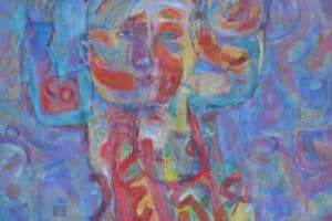 Shafik Radwan, Childhood, 2012 - 15, acrylic on canvas, 100 x 100 cm