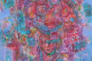 Shafik Radwan, Scattered, 2014-15, mixed media on canvas, 100 x 100 cm