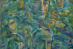 Shafik Radwan, Distant Memories, 2005, mixed media on canvas, 80 x 80 cm