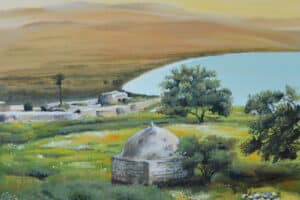 Taqi Sabateen, Majdala, 2015, acrylic on canvas, 87 x 87 cm