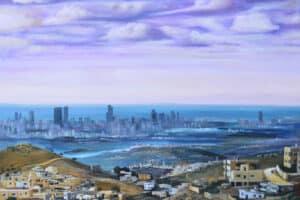Taqi Sabateen, View from Jarzim Mountain, 2015, acrylic on canvas, 140 x 170 cm