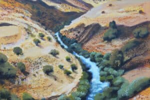 Taqi Sabateen, Jordan River, 2015, acrylic on canvas, 80 x 60 cm