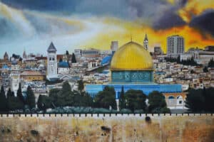 Taqi Sabateen, Dome of the Rock, 2015 Acrylic on canvas, 150 x 180 cm