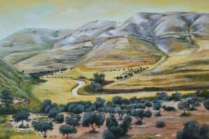 Taqi Sabateen, Wadi Al Nar II, 2015, acrylic on canvas, 100 x 155 cm