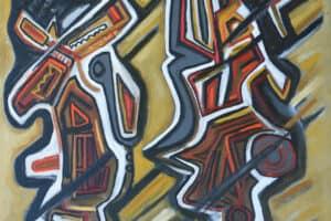 Bashir Abu-Rabia, Chaos V, 2016, oil on canvas, 140 x 110 cm