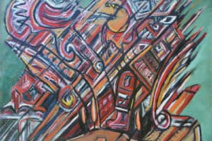 Bashir Abu-Rabia, Chaos VI, 2016, oil on canvas, 150 x 170 cm