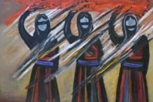 Bashir Abu-Rabia, Chaos XI, 2016, oil on canvas, 150 x 170 cm