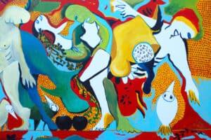 arim Abu Shakra, Metamorphosis, 2017, acrylic on canvas, 100 x 140 cm