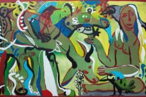 Karim Abu Shakra, Paradise I, 2017, acrylic on canvas, 129 x 208 cm