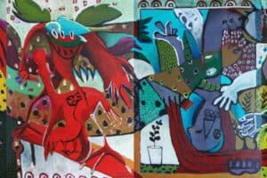 Karim Abu Shakra, State of Conflict, 2017, acrylic on canvas, 140 x 400 cm