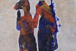 Tayseer Barakat, Farewell, 2016, acrylic on canvas, 145 x 119 cm
