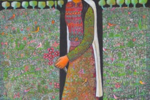 Woman in a Field, 2018, acrylic on canvas, 115 x 100 cm