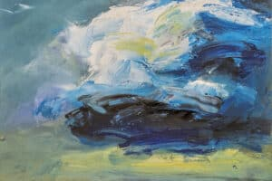 Mohamed Khalil, Dark Clouds #4 (2020), acrylic on canvas, 50 x 50 cm