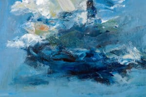 Mohamed Khalil, Dark Clouds #2 (2020), acrylic on canvas, 50 x 50 cm