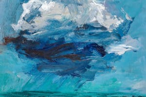 Mohamed Khalil, Dark Clouds #1 (2020), acrylic on canvas, 50 x 50 cm