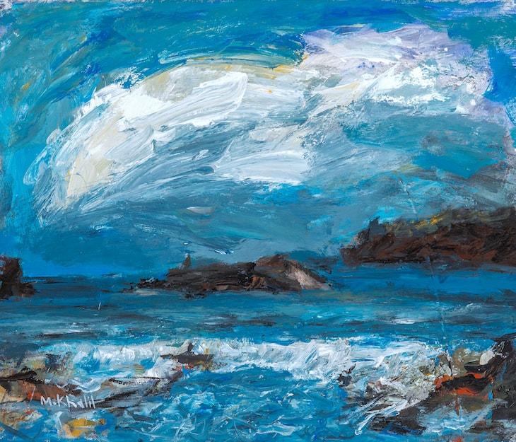 Mohamed Khalil, Seascape #2 (2016), acrylic on canvas, 54 x 64 cm