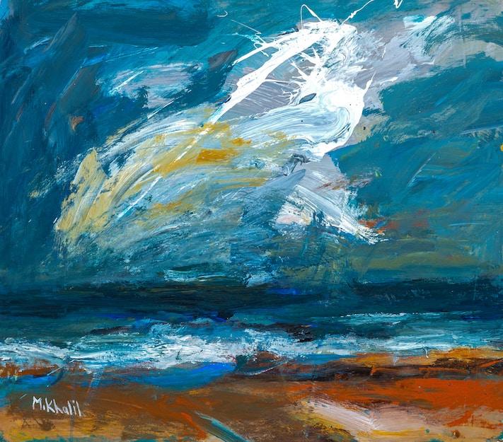 Mohamed Khalil, Seascape #4 (2016), acrylic on canvas, 54 x 64 cm