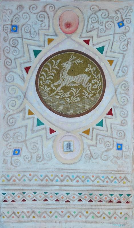 Asad Azi, Camel, 1991, mixed media on canvas, 105 x 60 cm