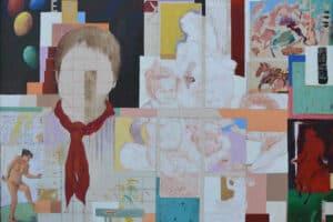 Asad Azi, Nostalgia, 2008, mixed media on canvas, 98 x 136 cm