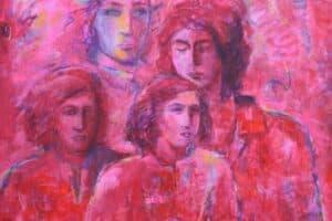 Shafik Radwan, Rosa Damascena, 2015, mixed media on canvas, 100 x 100 cm