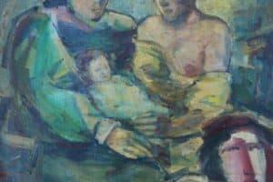 Shafik Radwan, Three Women and a Child (2005), oil on canvas, 40 x 40 cm