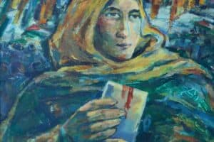 Shafik Radwan, Martyr's Wife in Protest, 2014, acrylic on cardboard, 39 x 47 cm