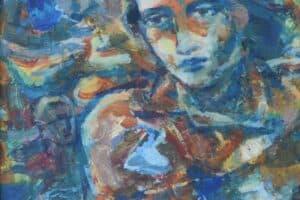 Shafik Radwan, Meditation, 2004, mixed media on cardboard, 30 x 30 cm