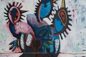 Karim Abu Shakra, Dream I, 2017, acrylic on canvas, 212 x 130 cm