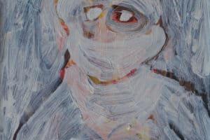 Ibrahim Al Mozain, Masked #1 (2018), acrylic on canvas, 40 x 30 cm