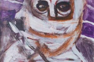 Ibrahim Al Mozain, Masked #2 (2018), acrylic on canvas, 40 x 30 cm