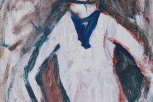 Ibrahim Al Mozain, Masked #3 (2018), acrylic on canvas, 40 x 30 cm