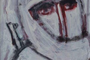 Ibrahim Al Mozain, Masked #4 (2018), acrylic on canvas, 40 x 30 cm