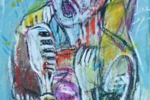 Mohammad Khalil, The Singer, 1996, acrylic on canvas, 80 x 50 cm