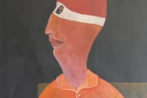 Ibrahim Al Mozain, Masked Man (2016), acrylic on canvas, 80 x 60 cm