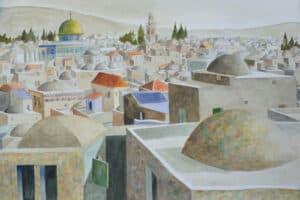 Sliman Mansour, Jerusalem, 2018, watercolor on paper, 70 x 100 cm