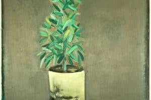 Karim Abu Shakra, Zaitouneh (2020), oil on paper, 70 x 50 cm