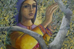 Sliman Mansour, Woman Picking Olives, 2018, oil and acrylic on canvas, 77 x 67 cm