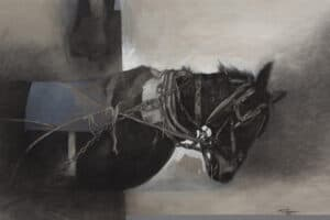 Sliman Mansour, Untitled, 2013, charcoal and acrylic on canvas, 90 x 105 cm
