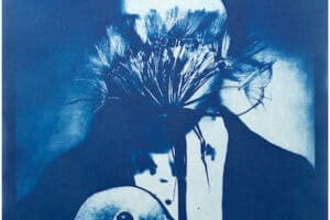 Shada Safadi, Staring #3 (2020), cyanotype print (edition of 5), 28 x 20 cm