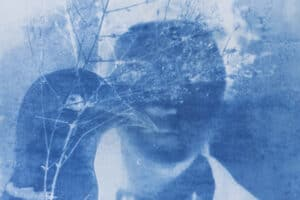 Shada Safadi, Staring #2 (2020), cyanotype print (edition of 5), 20 x 23 cm