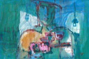 Shafik Radwan, Untitled SR.11 (2014), watercolor on paper, 30 x 42 cm