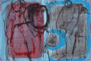 Shafik Radwan, Untitled SR.06 (2013), watercolor on paper, 30 x 42 cm