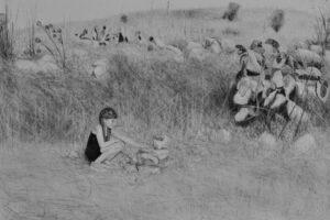 Samah Shihadi, Untitled #1, 2017, charcoal on paper, 33 x 48 cm