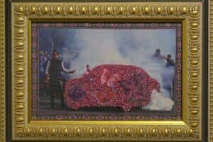 Mahdi Baraghithi, Frame #5, 2015, mixed media, 32.5 x 41 cm