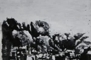 Aissa Deebi, Scotopia (2018), grisaille, glazing, oil and acrylic on canvas, 50 x 70 cm