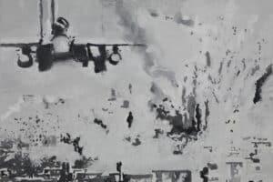 Aissa Deebi, Aircraft (2018), grisaille, glazing, oil and acrylic on canvas, 50 x 70 cm