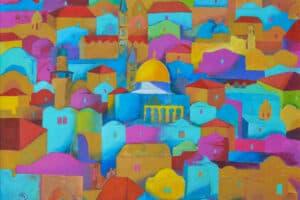 Hosni Radwan, Jerusalem #6, 2018 Acrylic on canvas, 102 × 113 cm