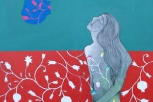 Hosni Radwan, Pomegranate Kiss , 2017 Acrylic on canvas, 100 × 100 cm